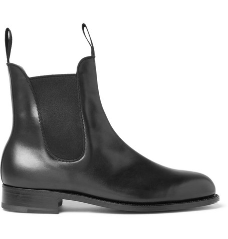 J.M. WESTON Leather Chelsea Boots in Black
