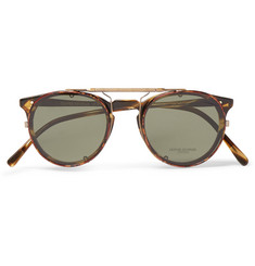 Oliver Peoples O'Malley D-Frame Tortoiseshell Acetate Optical Glasses with Clip-On UV Lenses