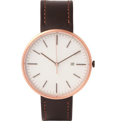 Uniform Wares M40 Rose Gold PVD-Plated Stainless Steel and Leather Wristwatch