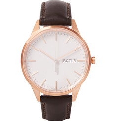 Uniform Wares C40 Rose Gold PVD-Plated Stainless Steel and Leather Wristwatch