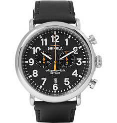 Shinola The Runwell 47mm Stainless Steel and Leather Chronograph Watch