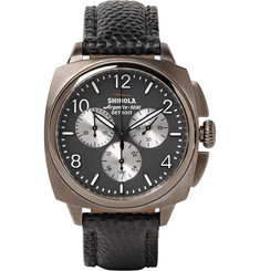 Shinola The Brakeman 40mm Stainless Steel and Pebble-Grain Leather Chronograph Watch