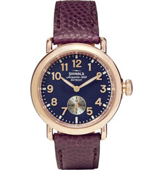 Shinola The Runwell 36mm PVD Rose Gold-Plated and Pebble-Grain Leather Watch