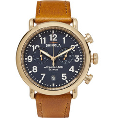 Shinola - The Runwell 41mm PVD Gold-Plated and Leather Chronograph Watch