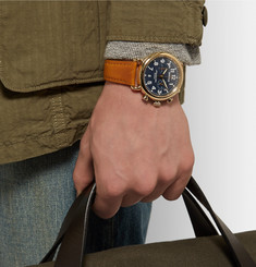 Shinola The Runwell 41mm PVD Gold-Plated and Leather Chronograph Watch