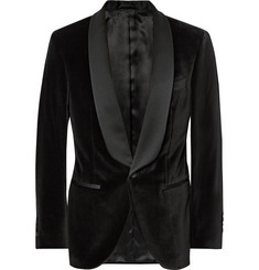 Hackett Black Slim-Fit Satin-Trimmed Velvet Tuxedo Jacket