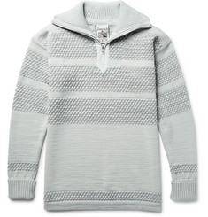 S.N.S. Herning Fisherman Textured Virgin and Merino Wool-Blend Half-Zip Sweater
