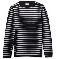 S.N.S. Herning Naval Striped Virgin and Merino Wool-Blend Sweater