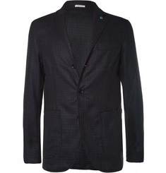 Eidos Augusto Blue Slim-Fit Unstructured Silk and Wool-Blend Blazer