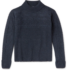 Eidos Cable-Knit Wool Mock Neck Sweater