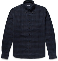 Eidos - Button-Down Collar Checked Cotton-Flannel Shirt