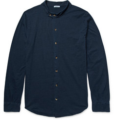 Eidos Grandad-Collar Mélange Cotton Shirt