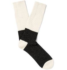 Anonymous Ism Two-Tone Textured Wool-Blend Socks