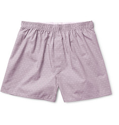 Sunspel Polka-Dot Cotton-Jacquard Boxer Shorts
