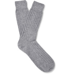 Sunspel Ribbed-Knit Cashmere Socks