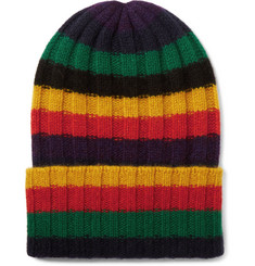 The Elder Statesman Striped Ribbed Cashmere Beanie