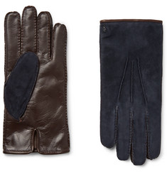 Tod's City Cashmere-Lined Suede and Leather Gloves