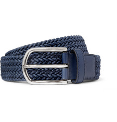 Tod's 3.5 Blue Leather-Trimmed Woven Cord Belt