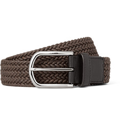 Tod's 3.5cm Brown Leather-Trimmed Woven Cord Belt