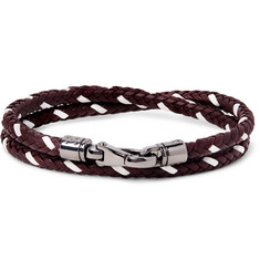 Tod's Two-Tone Woven Leather Wrap Bracelet