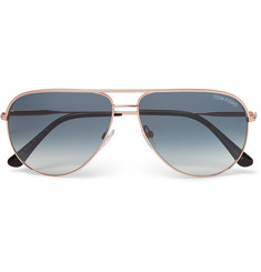 TOM FORD - Aviator-Style Rose Gold-Tone Sunglasses