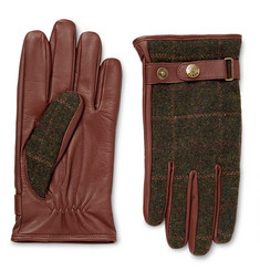 Dents - Edinburgh Checked Flannel and Leather Gloves