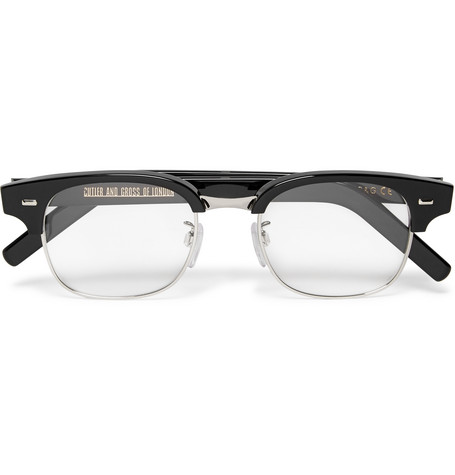 cutler and gross male cutler and gross dframe acetate and metal optical glasses black