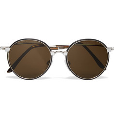Cutler and Gross Round-Frame Leather-Trimmed Silver-Tone Sunglasses