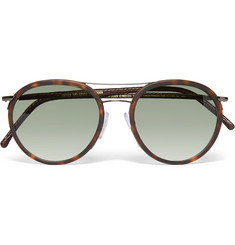 Cutler and Gross - Aviator-Style Leather-Trimmed Tortoiseshell Acetate Sunglasses