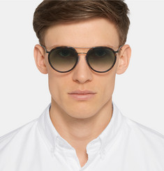 Cutler and Gross Aviator-Style Leather-Trimmed Tortoiseshell Acetate Sunglasses