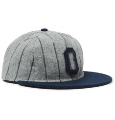 Ebbets Field Flannels Appliquéd Striped Wool Baseball Cap