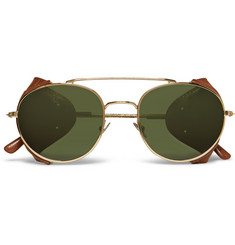 L.G.R Aviator-Style Leather-Trimmed Gold-Tone Sunglasses