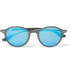 Ray-Ban Round-Frame Matte Silver-Tone Mirrored Sunglasses