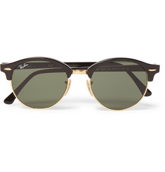 Ray-Ban Clubmaster Round-Frame Acetate and Gold-Tone Sunglasses