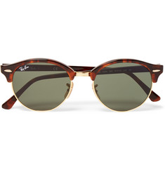 Ray-Ban Clubmaster Round-Frame Tortoiseshell Acetate and Gold-Tone Sunglasses