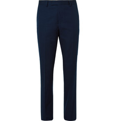 - Navy Tapered Cotton Tuxedo Trousers