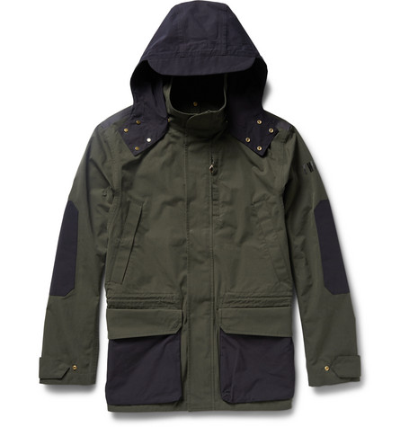 Hooded Two-tone Cotton-canvas Jacket