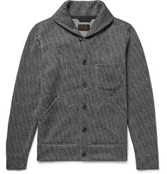 Beams Plus Shawl-Collar Herringbone Woven Cardigan