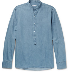Michael Bastian Grandad-Collar Cotton-Chambray Shirt