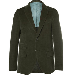 Michael Bastian Green Slim-Fit Elbow Patch Cotton-Corduroy Suit Jacket