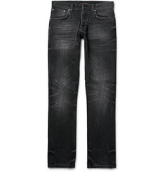 Nudie Jeans Grim Tim Slim-Fit Distressed Organic Stretch-Denim Jeans