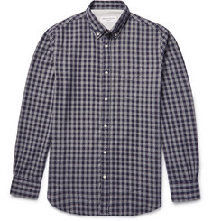 Officine Generale Button-Down Collar Gingham Cotton-Flannel Shirt