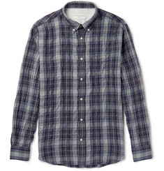 Officine Generale Slim-Fit Plaid Cotton-Blend Shirt