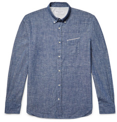 Officine Generale Button-Down Collar Selvedge Cotton-Chambray Shirt