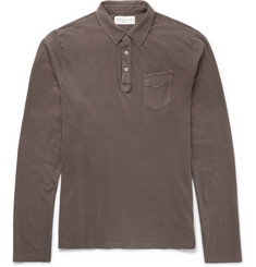 Officine Generale Garment-Dyed Slub Cotton-Jersey Polo Shirt