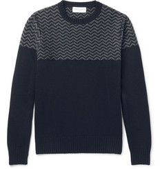 Officine Generale Jacquard-Knit Merino Wool and Cashmere-Blend Sweater