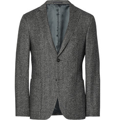 Officine Generale - Grey Slim-Fit Herringbone Wool and Silk-Blend Flannel Blazer