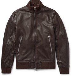 Officine Generale Laurent Full-Grain Leather Bomber Jacket