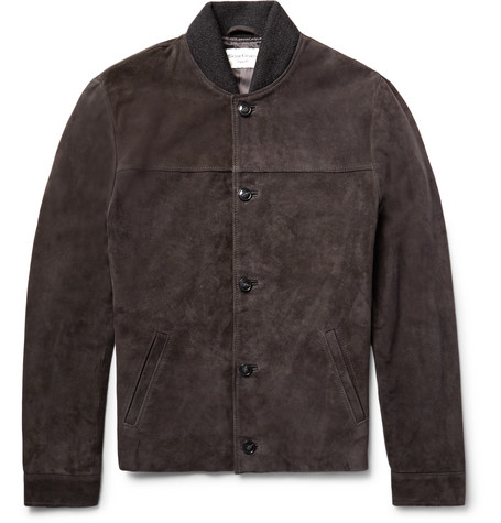 Officine Generale Wool-Panelled Suede Jacket