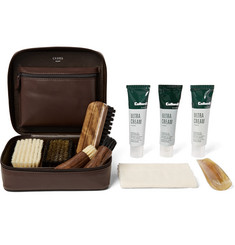 Cedes Milano Travel Shoe Care Set with Leather Case
